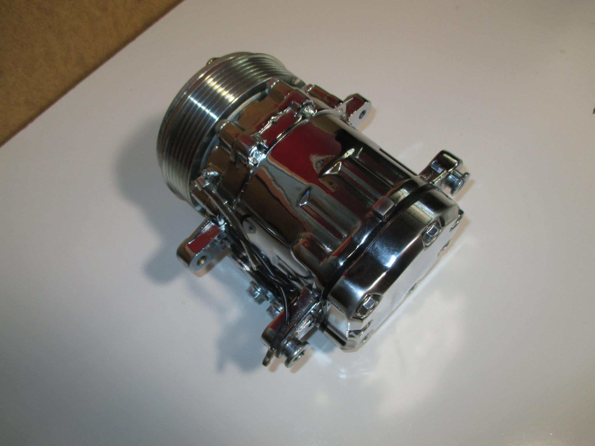 Serpentine Pulley #HC5005C Sanden SD-7 Style Chrome Mini AC Compressor