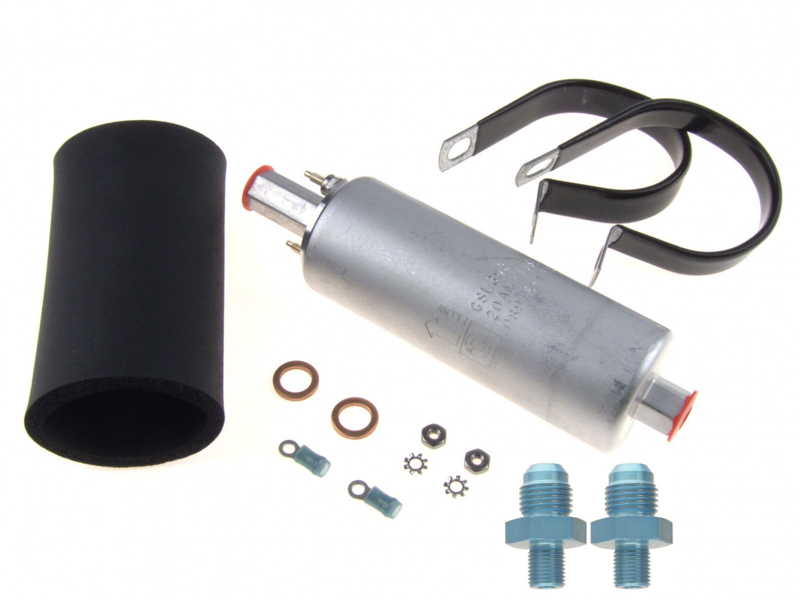 Walbro GSL392 Inline Fuel Pump 255LPH with (2) -6AN fittings and #400-939  Install Kit