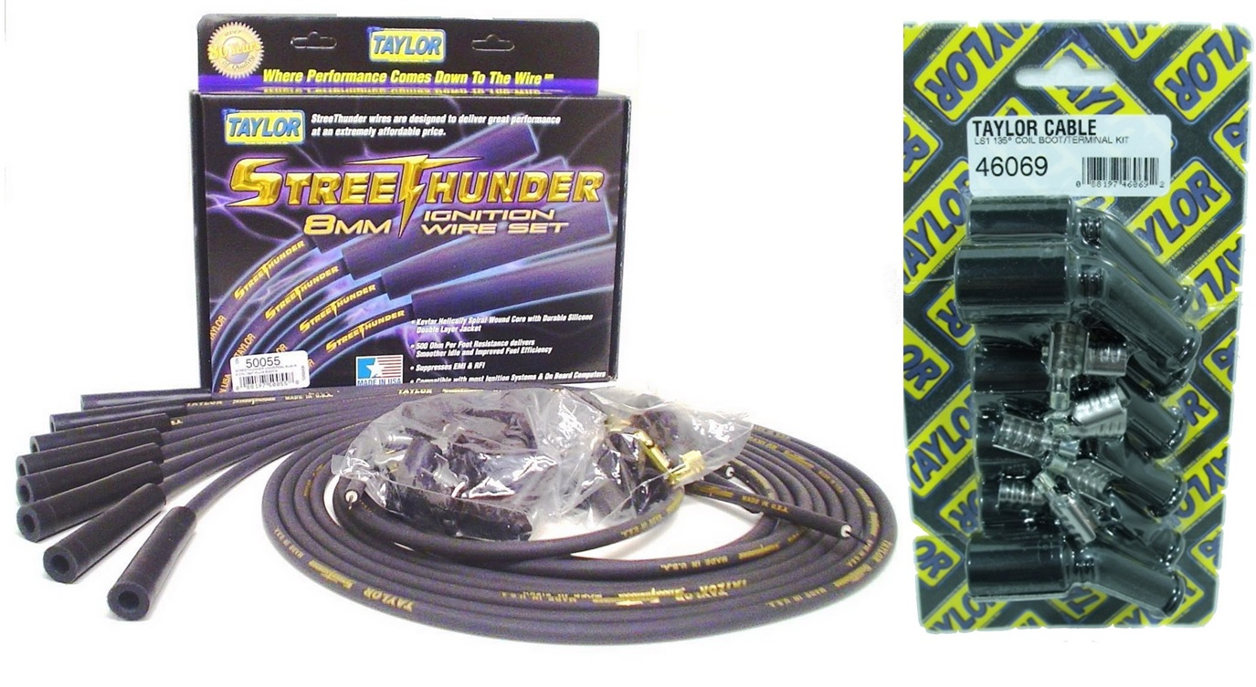 Taylor Street Thunder Ignition Wire Set Universal And Ls Coil Pack Ford Wiring Terminal Kit Terminals 180 Deg 8mm Black