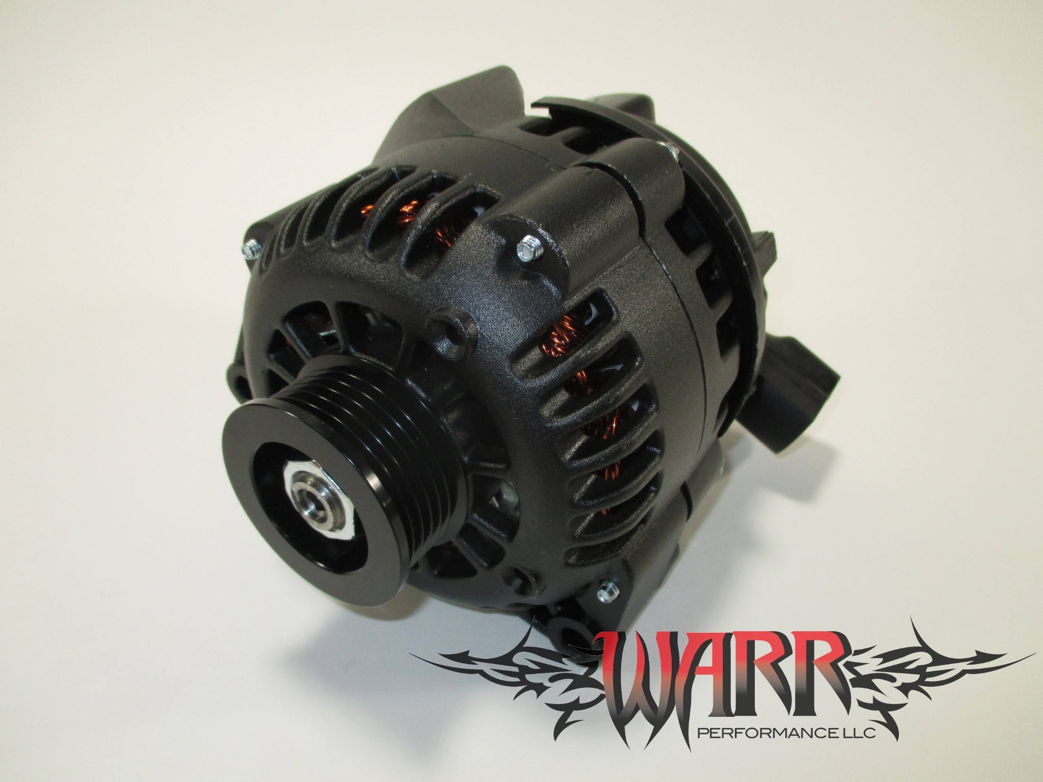 High Output GM Alternator - F Body LS1 LS6- 180 amp - Black - CS130D Style  Chrome